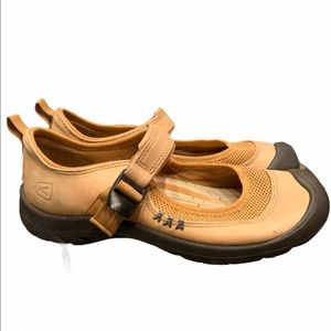 Keen Mary Jane leather mesh buckle shoes tan/black